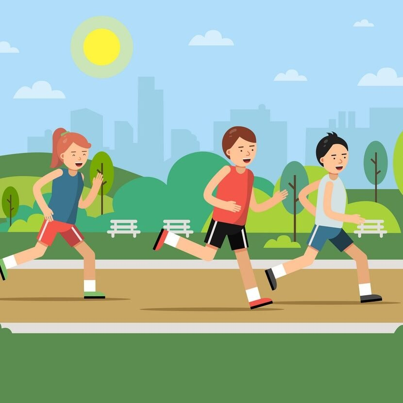Urban green park landscape with running peoples. Vector jogging and running, people outdoor healthy active illustration
