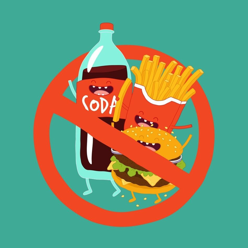 Fast food is prohibited. Hamburger, soda and french fries. Vector illustration